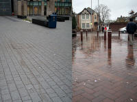 SUDS at work, left permeable paving, right rainwater runs off to road drainage